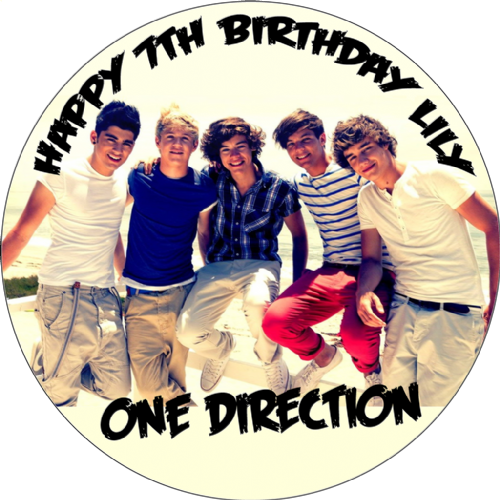 ONE DIRECTION ROUND EDIBLE PRINTED BIRTHDAY CAKE TOPPER